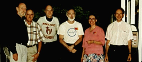 Photo of five past presidents with Knuth